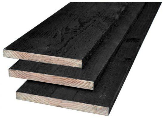 Douglas plank zwart gespoten 22 x 190 mm