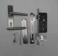 Slot RVS deurschild en deurkruk