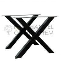 Stalen X tafelpoten Zwart gepoedercoat
