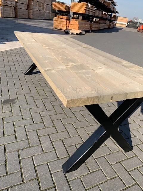 Ronde Tafel Gorinchem.Steigerhouten Tafel Met Zwarte X Poten 80x80mm